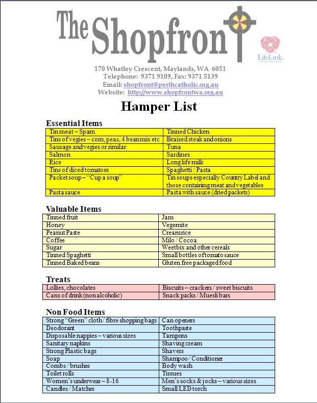 Shopfront hampers