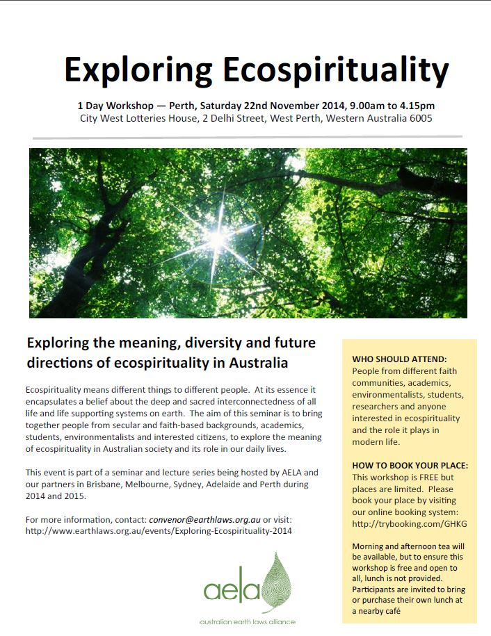 Exploring Ecospirituality Seminar 22 November 2014