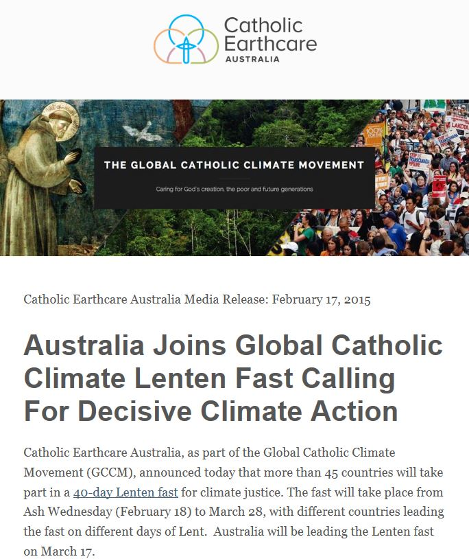 Australia Joins Global Lenten Carbon Fast