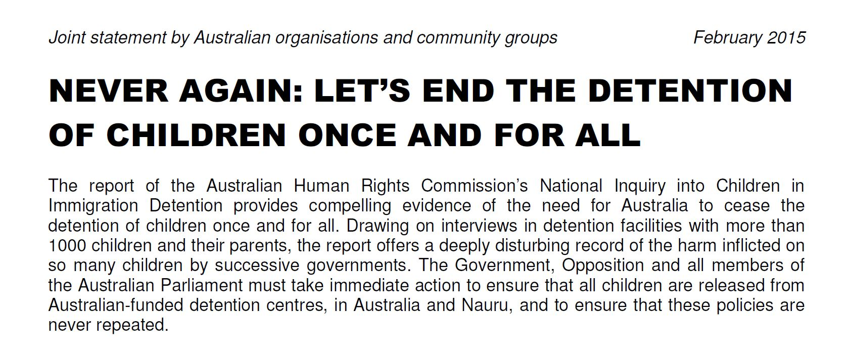 Refugee Council of Australia Joint Statement