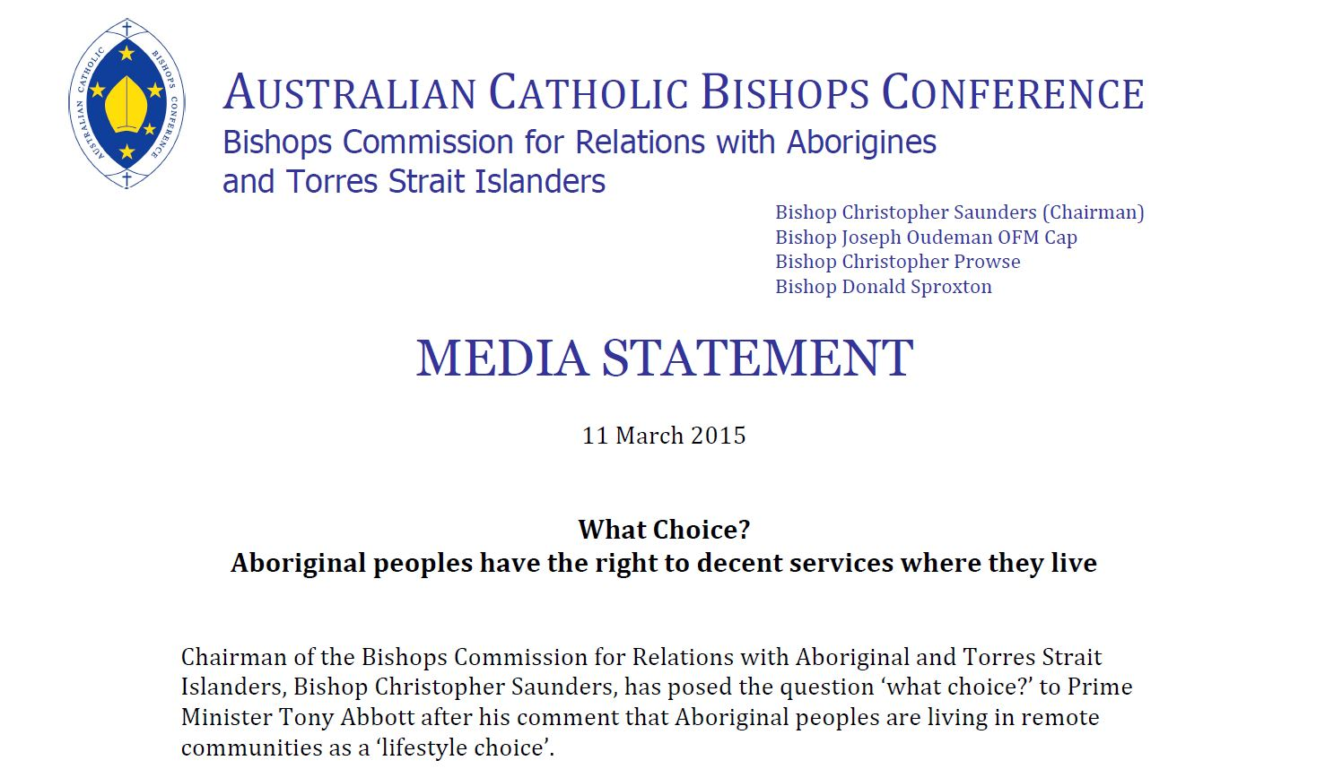 ACBC Media Statement - Aborigines