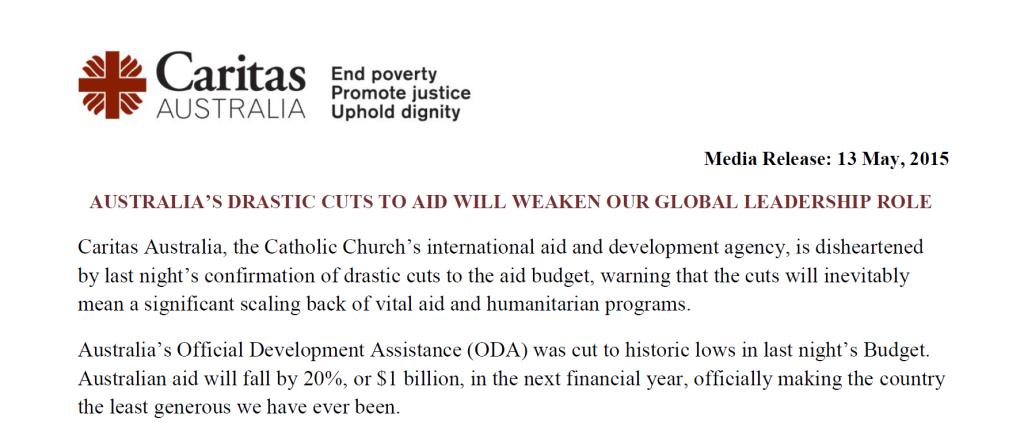 Caritas Budget Statement
