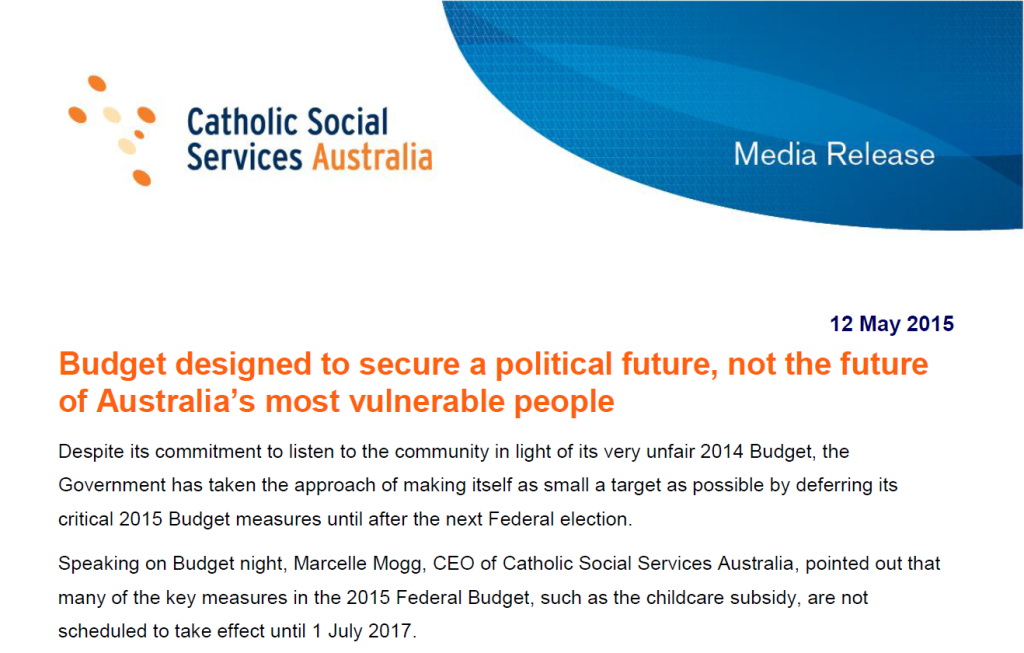 Catholic Social Services Australia - Budget Media Statement