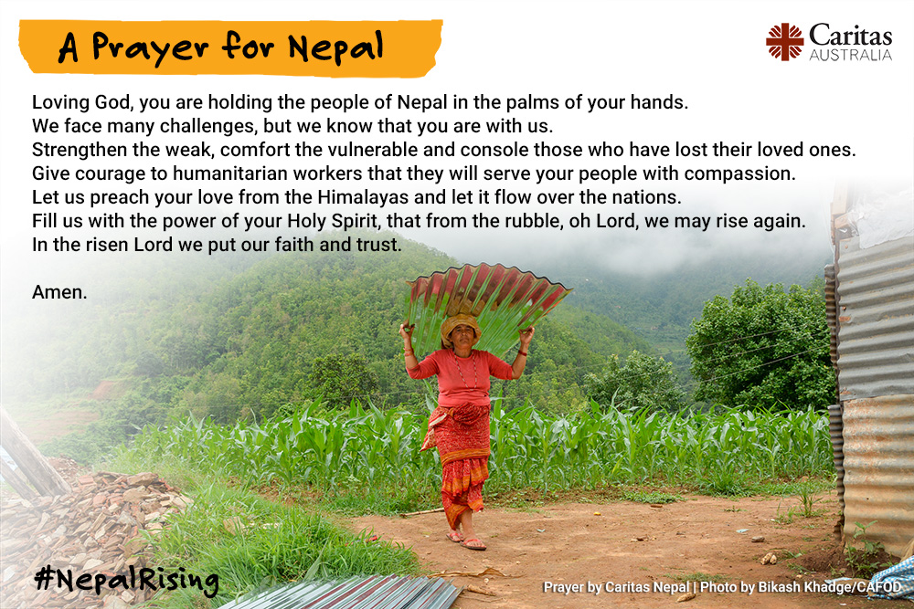 Caritas prayer card - prayer for Nepal