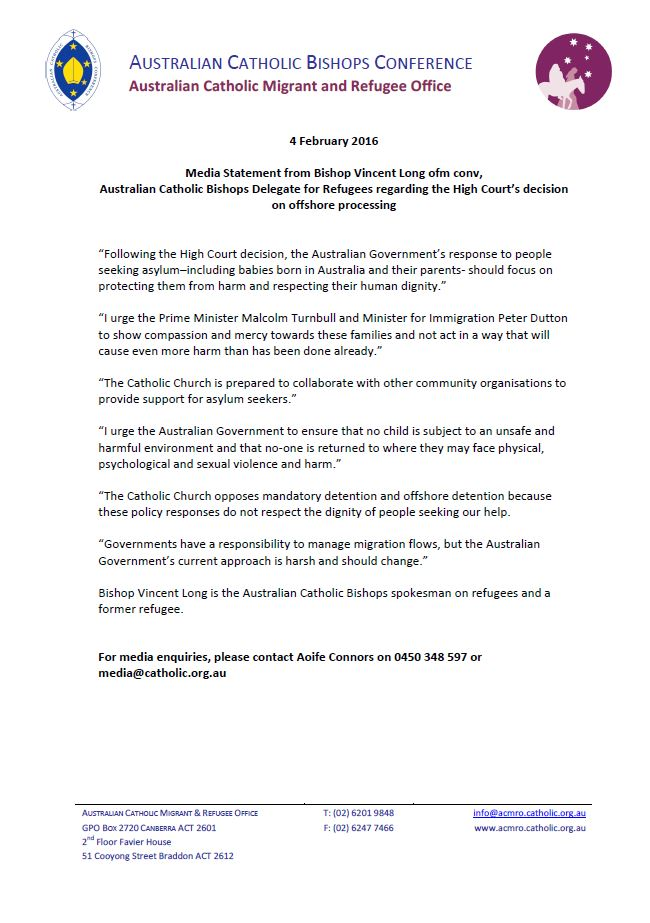ACBC Statement on Nauru