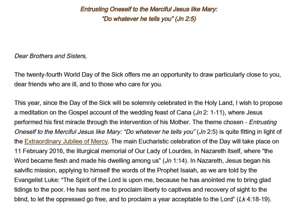 World day of sick - pope's message