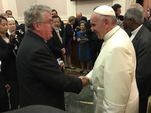 Columban Fr Sean McDonagh meets Pope Francis at the Joint Consultation on Laudato Si'