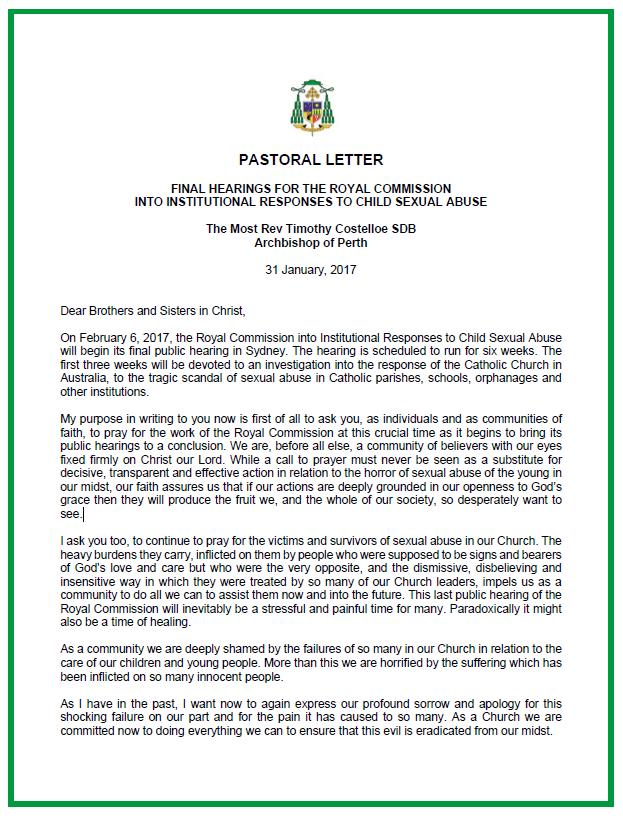 Royal commission statement AB Costelloe