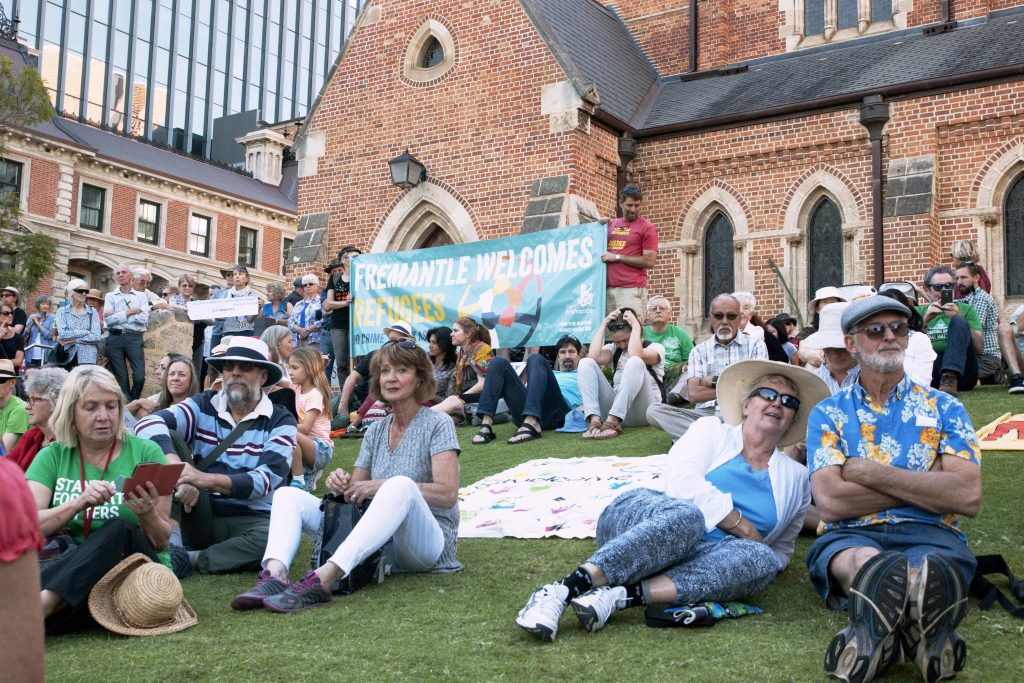 Around 1000 people turned out for the annual event which focused on supporting asylum seekers and refugees in Australia and worldwide. Photo: Caroline Smith